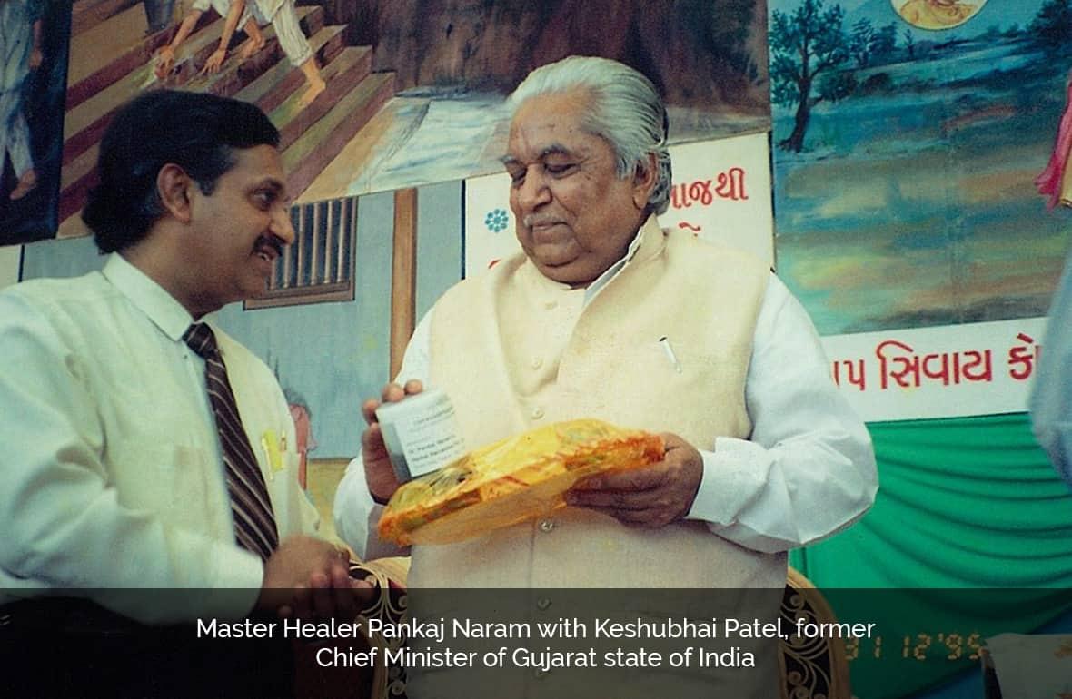 Dr. Pankaj Naram with Keshubhai Patel, former Chief Minister of Gujarat, state of India