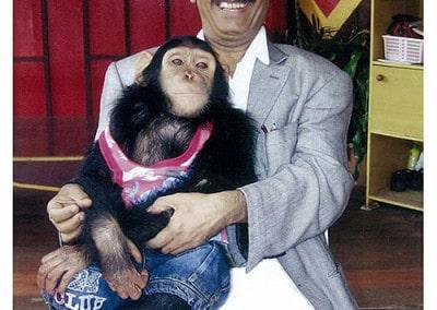 Dr Naram Pulse Healing wtih Chimpanzee, and Helping him overcome Skin Challenge